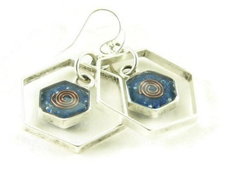 Orgone Energy Honeycomb Framed Earrings with Lapis Gemstone - Drop Earrings - Gemstone Earrings - Orgone Energy Jewelry - Artisan Jewelry