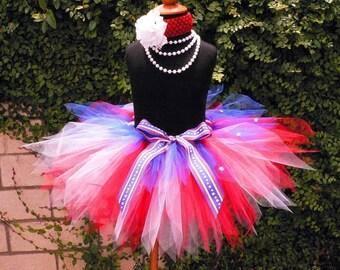 """Red White and Blue Tutu for 4th of July, Girls Tutu, Baby Tutu, Photo Prop Tutu, Sailor, 11"""" pixie tutu, Military Tutu, Veteran's Day Tutu"""
