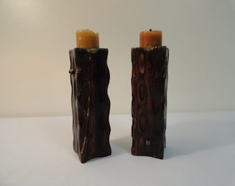 Pair of Hand Carved Wooden Candle Holders