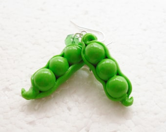 Peapod Earrings. Polymer Clay