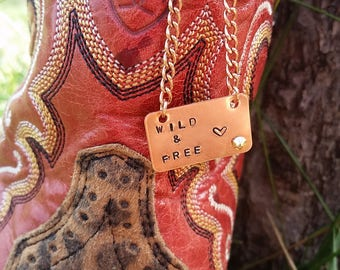 Wild And Free 24g copper stamped necklace with copper chain