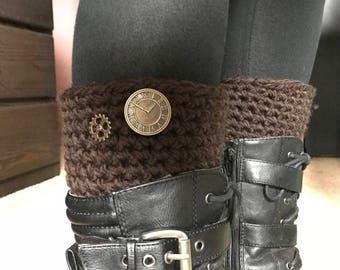 Crochet Brown Boot Cuffs w/ Steampunk Style Buttons