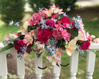 Silk Cemetery Saddle Arrangement for Headstone, Cemetery Flowers, Memorial Arrangement