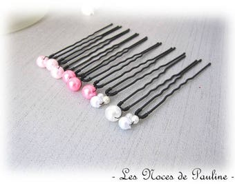 Pink and white hair pins simple set of 9 Maiage