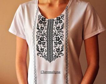 Vyshyvanka Ukrainian embroidery Short sleeve shirt Womens gift Bohemian clothing Made in Ukraine Vyshivanka