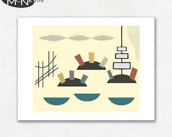 SAN FRANCISCO, Modern Mid Century Abstract, Giclee Fine Art Print for the Home Decor