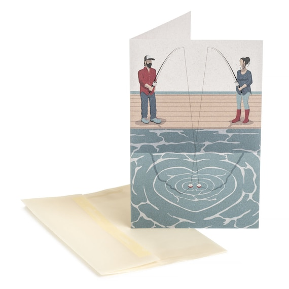 FISHING COUPLE. Love card. Fishing Couple. For fishers. For him. For her.