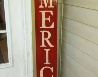 America Porch Sign Reversible Vertical Distressed Wood Sign Extra Large Oversized Summer Patio Pariotic Decor Primitive Sign Memorial Day