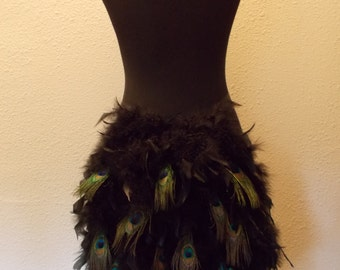 Peacock Mardi Gras Carnival Showgirl Wrap Ribbon Moulin Masquerade Party Burlesque Feather Costume Bustle Bunny Tail Tutu Skirt