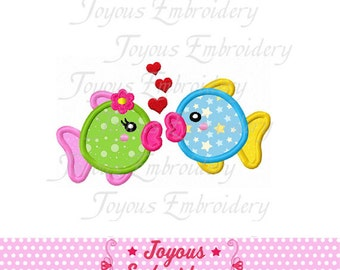 Instant Download Kissing Fishes Applique Embroidery Design NO:1537