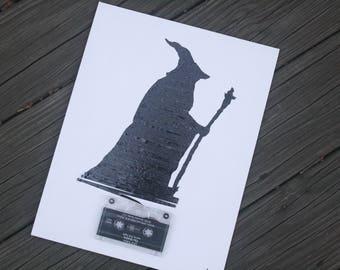 HOBBIT / Gandalf / 11x14inch / cassette tape art
