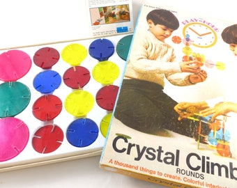 Crystal Climbers Rounds Set by Pressman Play Hour Interlocking Lucite Building Blocks