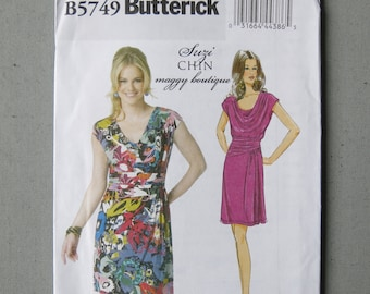 Sewing pattern, Butterick B5749 dress draped