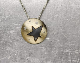 14K Yellow Gold Diamond Star Necklace Oxidized Silver Bright Starry Night Sky Constellation Pendant Sparkly April Birthstone - Sternenhimmel