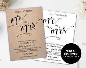 Rehearsal Dinner Invitations   Rehearsal Invitation   Black and White   Wedding Rehearsal   Rehearsal Invites   Before They Become Mr & Mrs