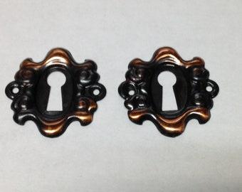 2 Antique vintage (nos) copper flash arts crafts mission brass key escutcheon key hole plate part