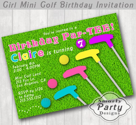 Girl mini golf birthday party invitation smarty party designs have a super fun par tee with this mini golf birthday invitation features colorful putters and golf balls on a green turf background filmwisefo
