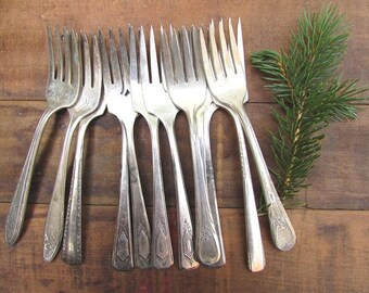 6 Silver Plate Dessert Forks Mismatched Cottage Chic Boho Christmas Holiday Decor