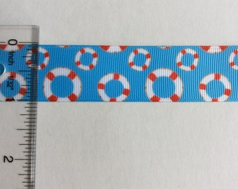 "Nautical life rings grosgrain ribbon 1"" Blue red Preserver lifebuoy ring"