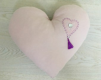 Heart pillow with crystal and cotton brush