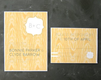 Bonnie and Clyde - Sunny Faux Bois Invitations and RSVPs