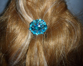 Authentic Vintage Stunning Blue Rhinestone Silver Hair Comb, BRIDE, WEDDING