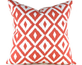 Outdoor Pillows Outdoor Pillow Covers Decorative Pillows ANY SIZE Pillow Cover Coral Pillow Terrasol Outdoor Aztec Coral
