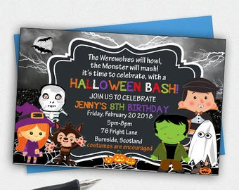 Kids Halloween Invitations,Kids Birthday Party Invitations,Halloween Birthday Invitations,Halloween Party Invites,Kids Party Printables