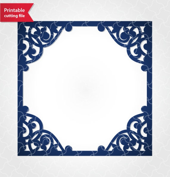 Fancy square frame vector template for laser cutting. SVG DXFFancy Square Frame
