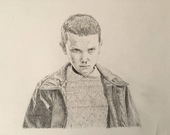 Eleven Pencil Drawing Stranger Things