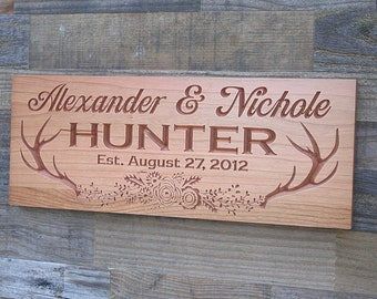 Custom Cabin Sign, Antlers with flower wreath, Cabin Decor, Wooden carved sign, Custom Signs, Benchmark Signs, Cherry AF