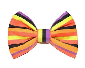 Bright Halloween Striped Pet Bow Tie- Dog, Cat, CollarDog Bow Tie, Bow Tie, Dog Bow