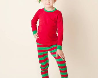 Red and Green Striped Pajamas Christmas Pjs, Christmas Pajamas, Christmas PJs, Family PJs