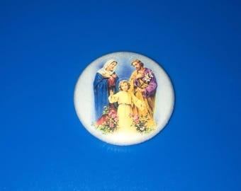 "Holy Family Jesus Joseph Mary Roman Catholic Religious {A805} 1"" Pin Badge Pinback"