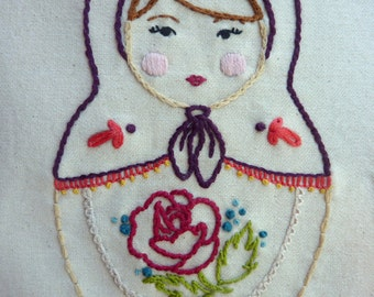 Matryoshka Embroidery Pattern. Vignette Series.