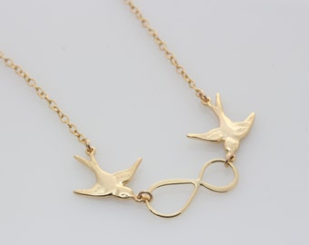 Gold Infinity Necklace . Gold Flying bird Necklace, Birds infinity necklace, Gold Bird Jewelry