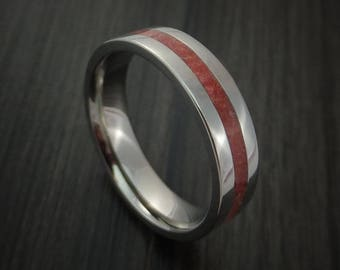 Titanium ring with coral inlay custom made band