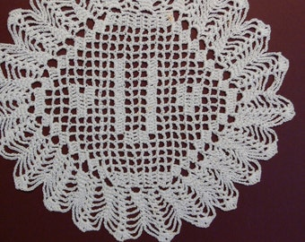 "Custom Crocheted Initial Doily  ""U"""
