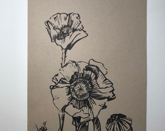 """Just Cause, Poppies, 9""""x12"""" original flower ink drawing on tan paper"""