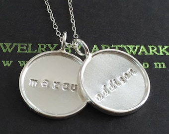 Sterling silver round bezel disc double trouble disc charm handstamped customized personalized initial name monogram mommy wedding bridesmai