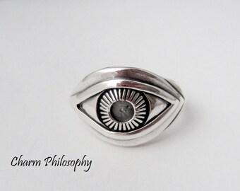 Eye Ring - 925 Sterling Silver Jewelry - Silver Human Eye Ring