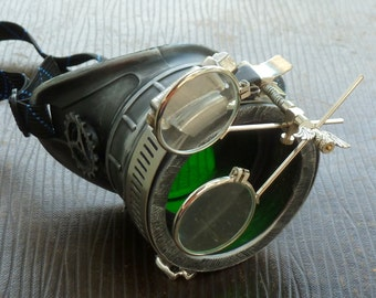 Steampunk goggles monocle eyepatch costume biker glasses green lens cyber gothic Silver