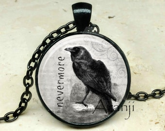 The Raven art pendant, The Raven necklace, The Raven jewelry, Edgar Allen Poe necklace, Edgar Allen Poe pendant, nevermore, Pendant #AN225P