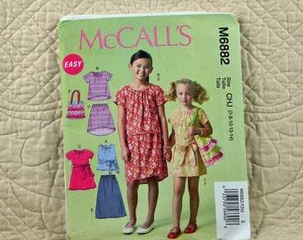 Girls, Dress Top Skirt, XS S M L XL, McCalls M6882 Pattern, Pullover, Back Zipper, Shaped Hem, Bag, 2014 Uncut, Size 3 4 5 6 or 7 8 10 12 14