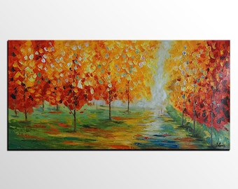 Autumn Tree Painting, Original Painting, Canvas Art, Oil Painting,  Abstract Wall Art, Large Painting, Abstract Painting, Living Room Art