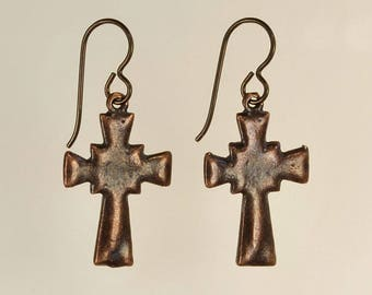 Bronze Cross Drop Earrings Religious Faith Christian Easter Jewelry Spring Summer Birthday Gift Boho Minimalist Bronze Artisan Copper Nobium