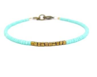 Friendship Bracelet, Aqua Turquoise, Blue Friendship Bracelet, Bronze color Cubes, Minimal Bracelet, Miss Ceces Jewels, Hawaii Jewelry