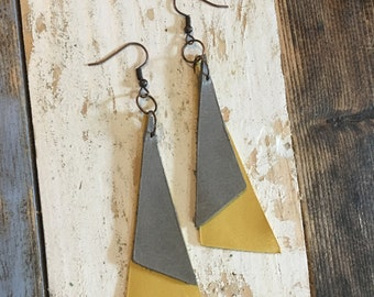 Modern Triangle Leather Earrings