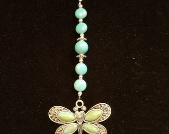 Turquoise dragonfly keychain
