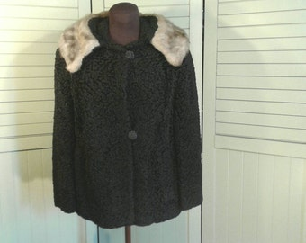 Vintage Persian Lamb Fur Jacket Black Soft Curly Over The Shoulder Big Wide Collar Domed Buttons Satin Lining Coat Womens Size Small Medium
